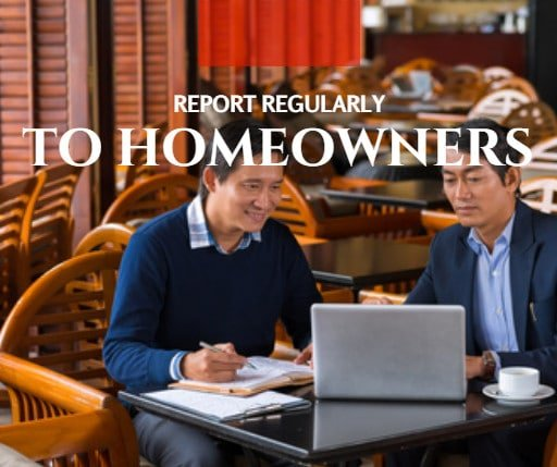 regular reporting to homeowners by professional property management firms